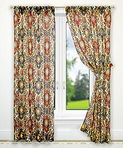 Ellis Curtain Tuscany Tailored Panel Pair with Tiebacks, 70 x 63, Red