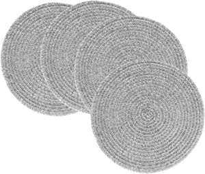 Tesyfk Round Placemats, Woven Heat Resistand PVC Placemat for Dinner Table, Non-Slip Washable Kitchen Dining Table Mats Set of 4 (Grey)