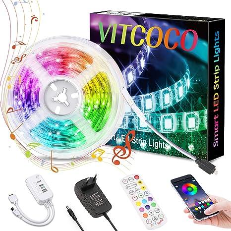 LED Streifen 5M VITCOCO Bluetooth LED Strip Kit RGB 5050SMD 150 LEDs Farbwechsel selbstklebend LED Lichtleiste Sync mit Musik mit 24 Tasten Fernbedienung 12V Netzteil f/ür Haus Party Dekoration