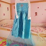 """Tg Blu Costume bambina /""""Regina del Ghiaccio//Principessa delle Nevi/"""" con strascico e ricamo a spirale 92-98 100"""