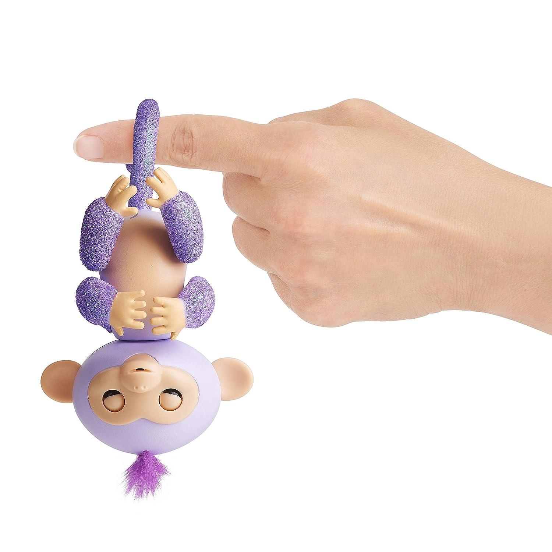 Bewegungen und Ber/ührungen reagiert auf Ger/äusche Fingerlings Glitzer /Äffchen blau Amelia 3761 interaktives Spielzeug