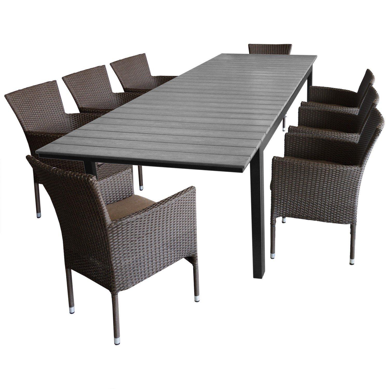 Gartenmöbel Set Gartengarnitur Sitzgruppe   Ausziehtisch,  Polywood Tischplatte, Silver Grey