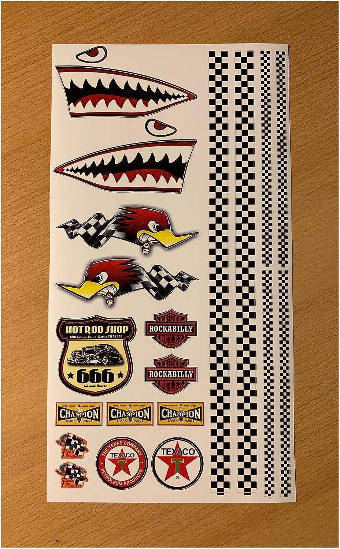 24 7stickers Mb001 Aufkleber Set Modellbau 29 X 15 5 Cm Old School 76 Hai Shark Checkered Flag Hot Rod Usa V8 Flagge Tuning 1 10 1 8 Auto Rc Diorama Auto