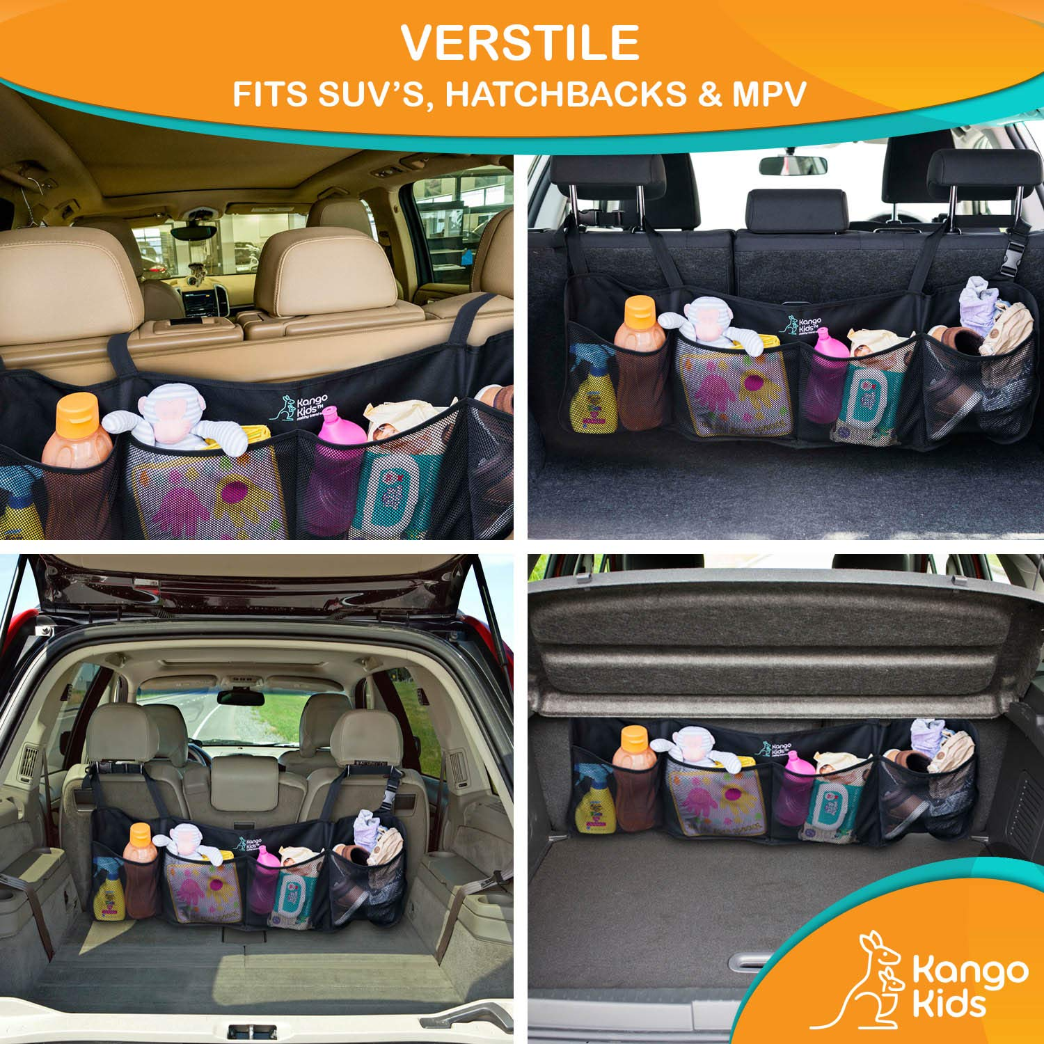 Easy To Install Organizers Fits Most Vehicles KangoKids Keep Your Trunk Tidy And Organized With Ease Space Saving Cargo Net Design With 4 Large Pockets Trunk Organizer for Car and SUV Lightweight