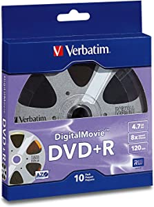 Verbatim 700MB 80 Minute 4.7 GB 8x Digital Movie Recordable Disc DVD+R, 10-Disc 97936