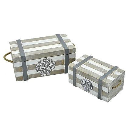 Caja joyero para mesa en madera decorado con motivos marineros (juego de 2 cajas)