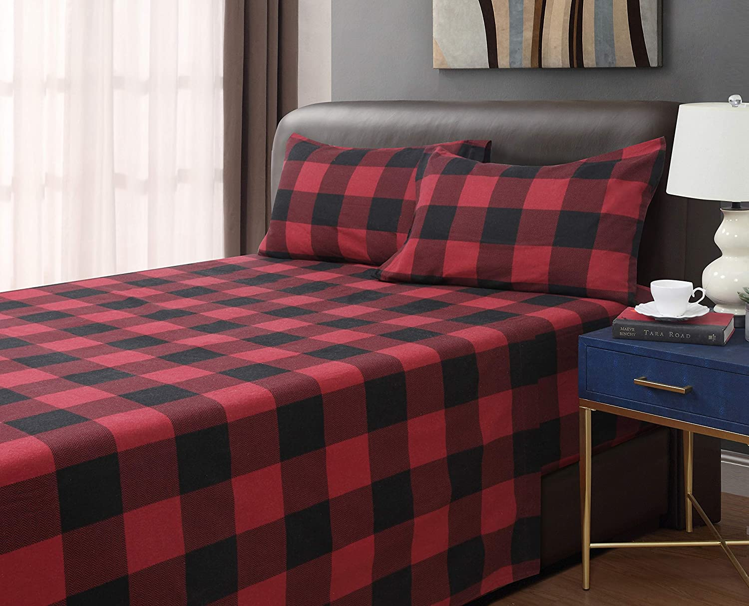 Universal Home Fashions Buffalo Plaid 4-Piece Flannel Sheet Set Queen Red/Black 60''x80''