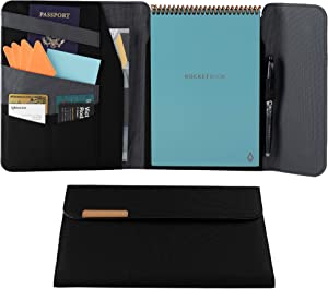 Rocketbook Flip Capsule Folio Cover - 100% Recyclable Cover with Pen Holder, Magnetic Clasp & Inner Storage - Black, Executive Size (6