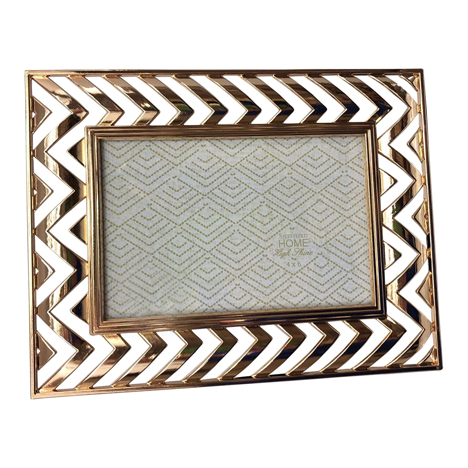 Sheffield Home Photo Frame Picture 4 by 6 Gold Table Top Horizontal Vertical Chevron Zig Zag Open Work Shiny Metal