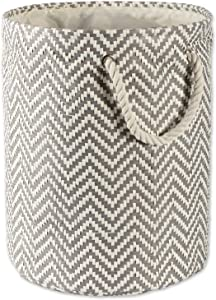 "DII Woven Paper Basket or Bin, Collapsible & Convenient Organization & Storage Solution for Your Home (Large Round - 15x20"") - Gray Chevron"