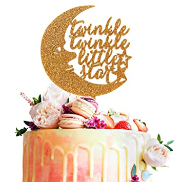 Twinkle Little Star Gold Glitter Acrylic Cake Topper Baby Shower First Year Month Kids