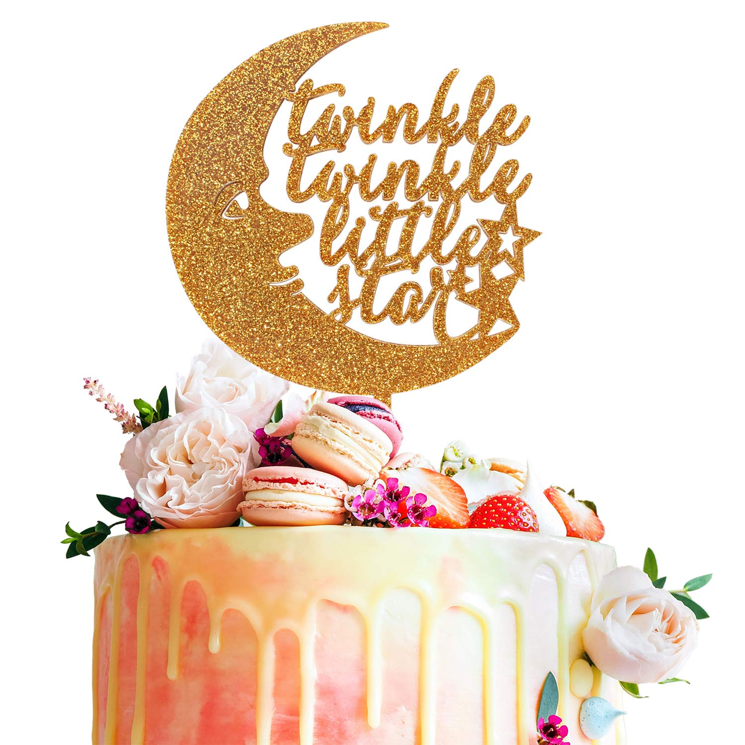 Twinkle Twinkle Little Star Gold Glitter Acrylic Cake Topper Baby Shower First Year First Month Kids Birthday Party Decoration.