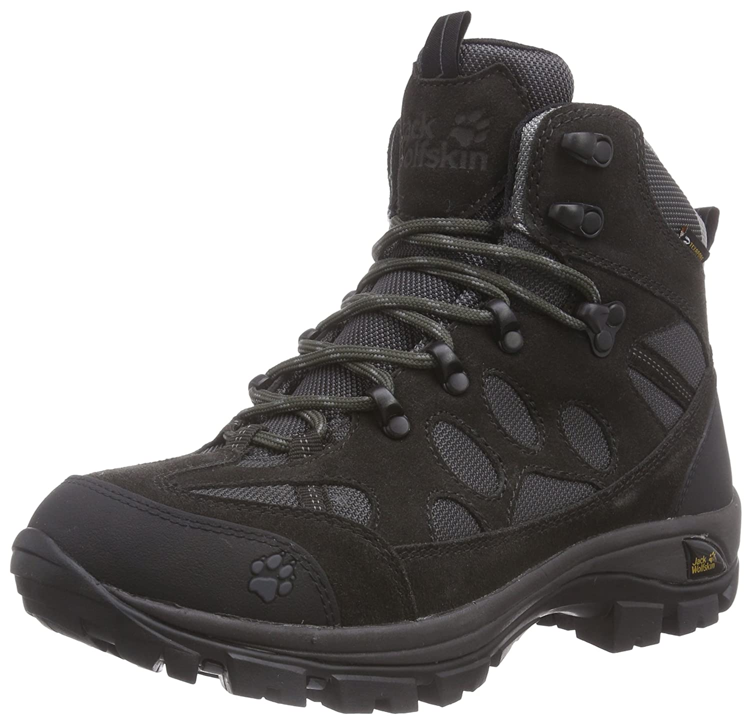 Jack Wolfskin Women's All Terrain 7 Texapore Mid W Hiking Boot B00TLAID7M 10 D US|Shadow Black