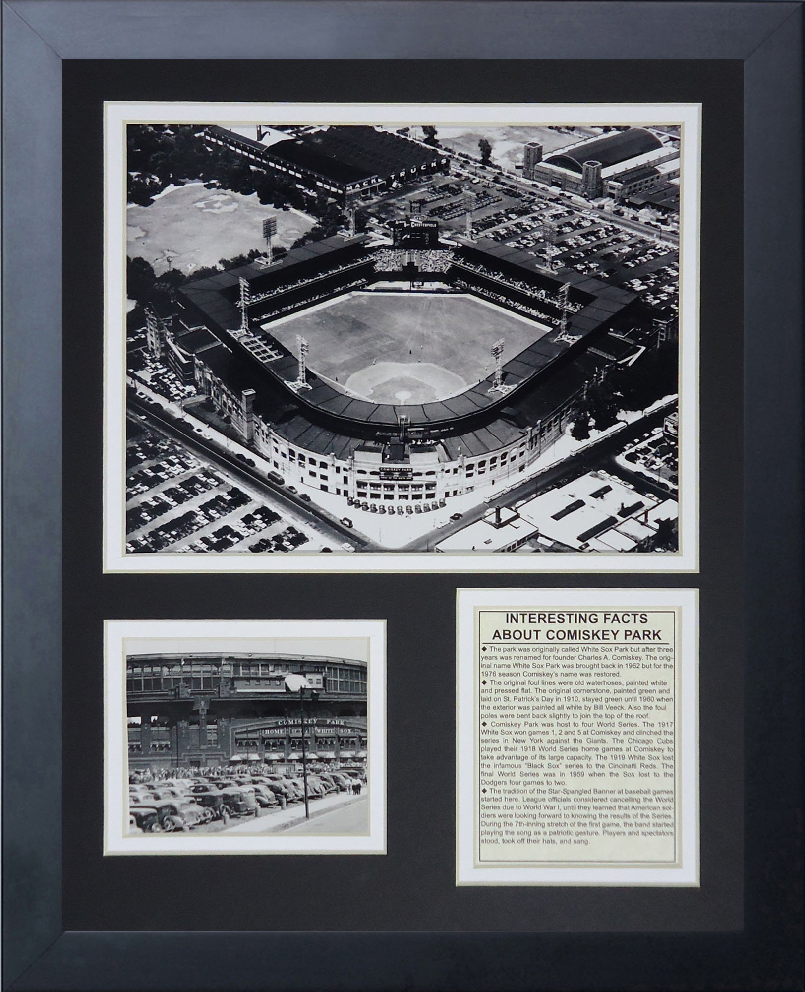 Legends Never Die ''Comiskey Park'' Black and White Framed Photo Collage, 11 x 14-Inch