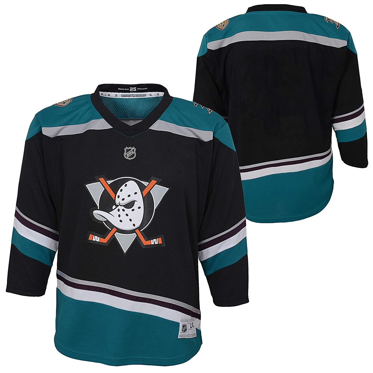 super popular e61c1 fd9b6 Amazon.com: Anaheim Ducks Black Teal Blank Youth Alternate ...