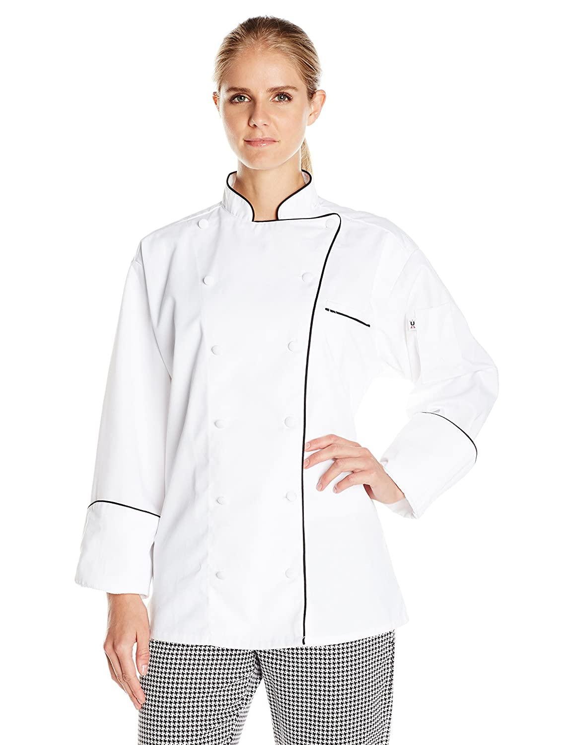 White Black Piping Uncommon Threads Womens Murano Executive Coat with Piping 65 35 Chef's Jacket