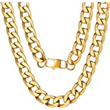 ChainsPro Men 4/6/9/13mm Curb Cuban Link Chain,Hip Hop Jewelry,316L Stainless Steel/Gold Plated/Black Color-(with Gift Box)