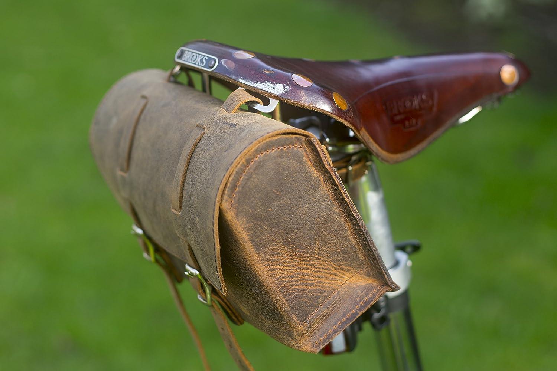 Genuine Leather Bicycle Saddle Bag Utility Tool Box kit bike handmade stitching