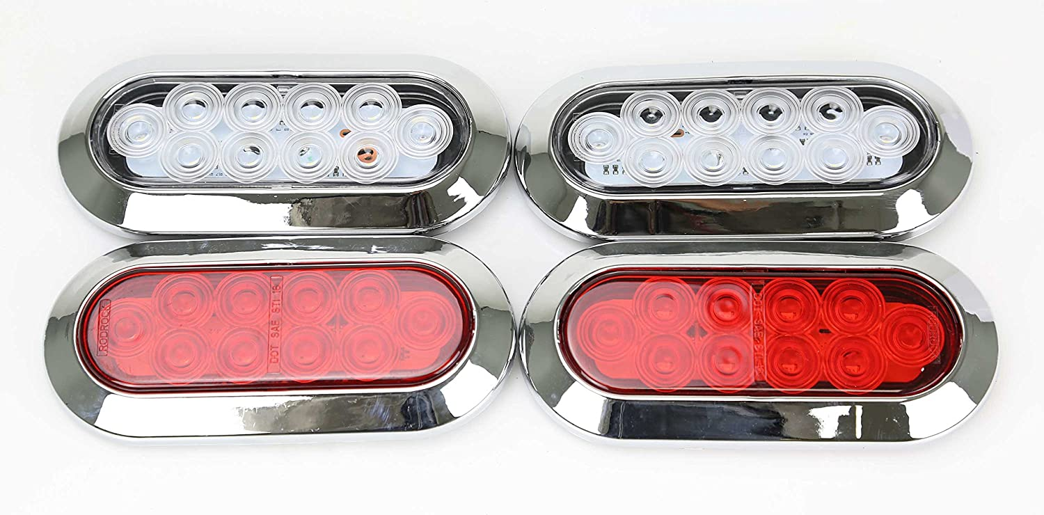 Set of 2 Surface Mount Red 6 Oval 10 LED Trailer Truck Stop//Turn//Tail Light w//Chrome Trim 24029