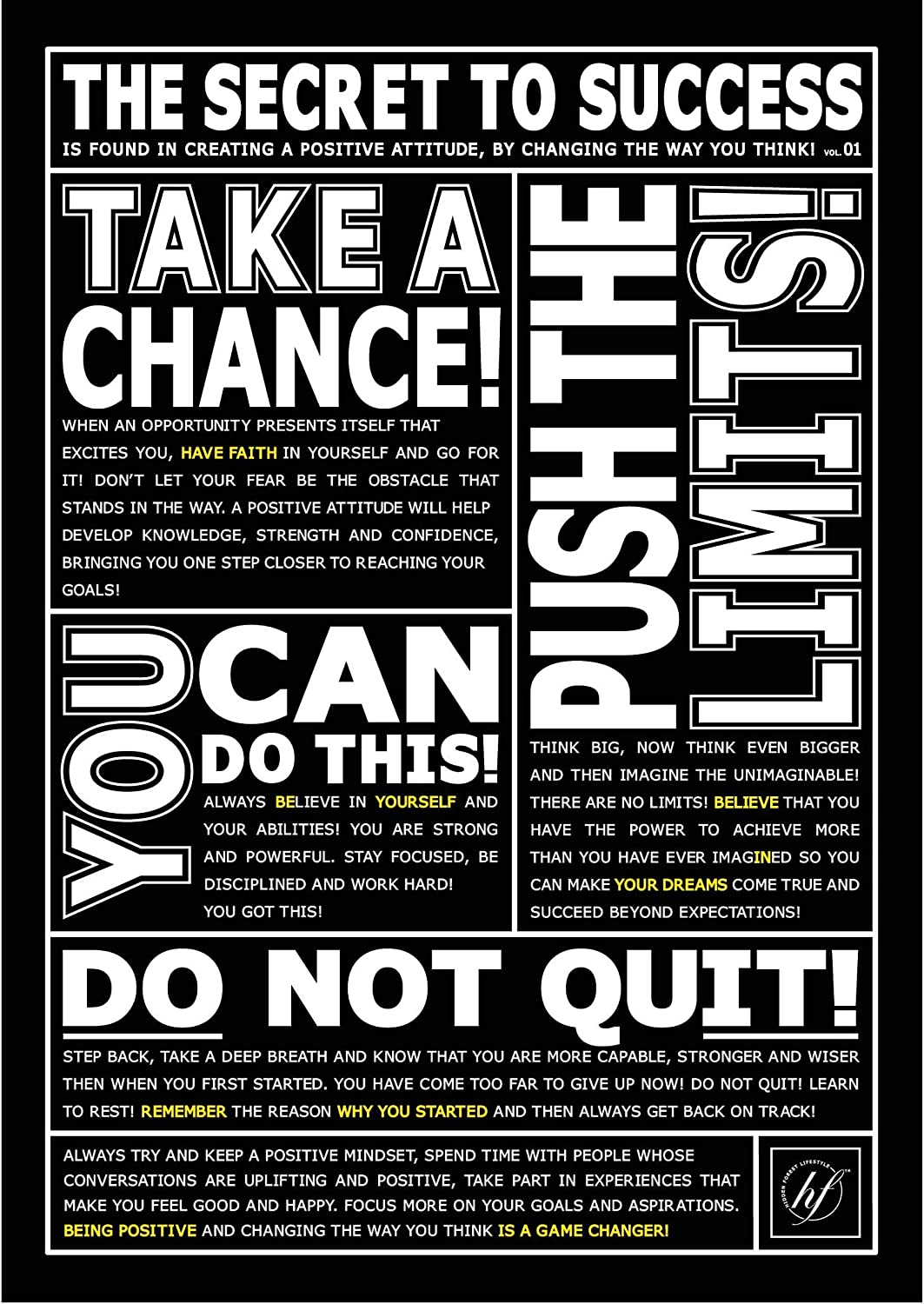 HFL The Secret to Success Motivational Poster:11.7x16.5 inch Poster for Office Decor, College Dorm, Teachers, Classroom, Gym Workout & School! Inspirational Wall Art to Change your Mindset for Growth