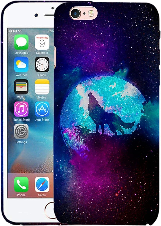 Glisten iPhone 6 Case, iPhone 6S Case - Wolf Moon Design Printed Slim Profile Cute Plastic Hard Snap on Protective Designer Back iPhone 6 Case/iPhone 6S Case