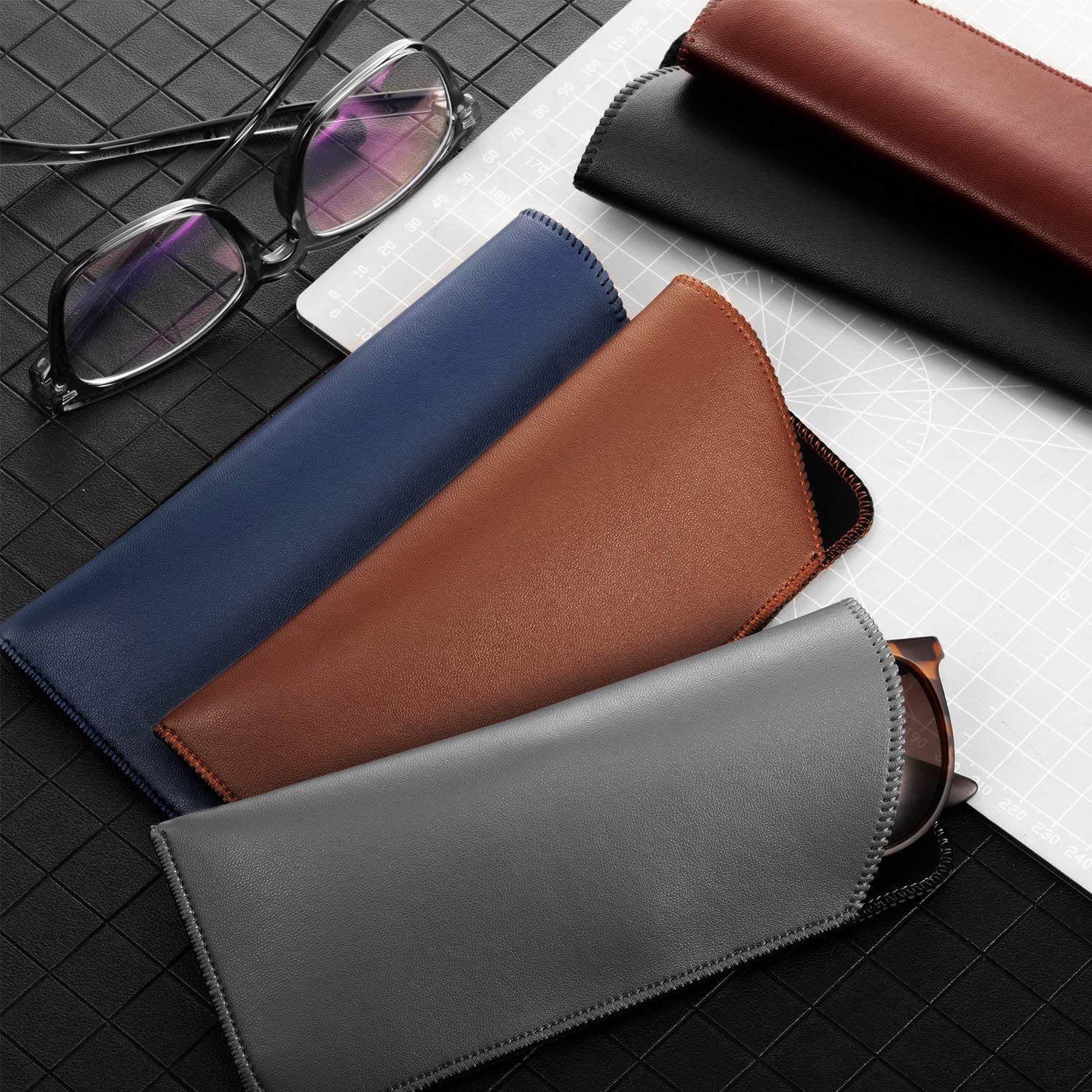 5 Pieces Slip In Eyeglass Pouch Artificial Leather Slim Travel Sunglasses Case Holder Faux Leather Eyewear Sleeve for Men Women Students