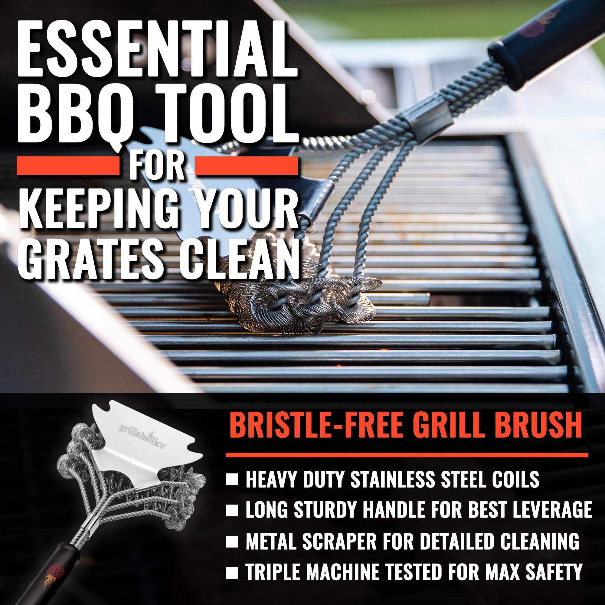 Grillaholics Grill Brush Bristle Free - Safe Grill Cleaning with No Wire Bristles - Professional Heavy Duty Stainless Steel Coils and Scraper - Lifetime Manufacturers Warranty by Grillaholics (Image #3)