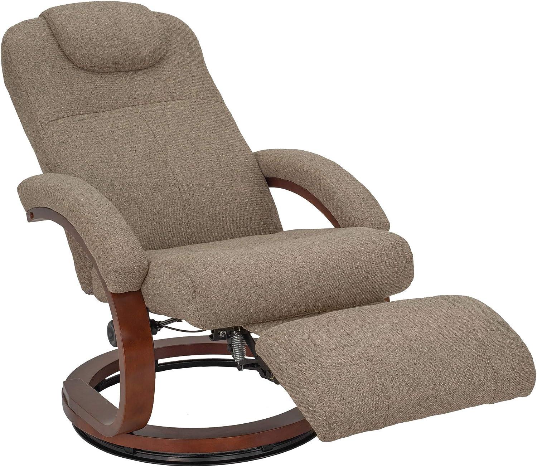 RecPro Charles 28 RV Euro Chair Recliner Modern Design RV Furniture Cloth Oatmeal, 1 Chair