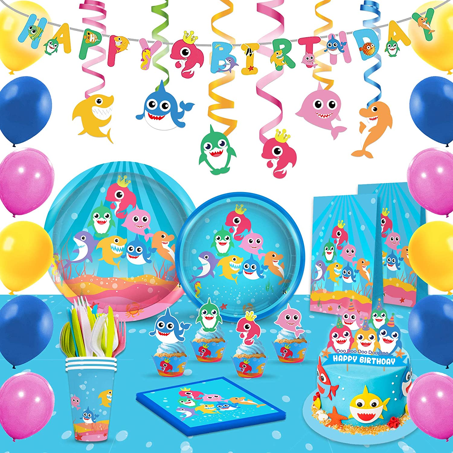 Shark Party Supplies Set & Tableware kit - Perfect for Birthday Party Decorations - Includes Plates, Napkins, Cups, Straws, Cutlery
