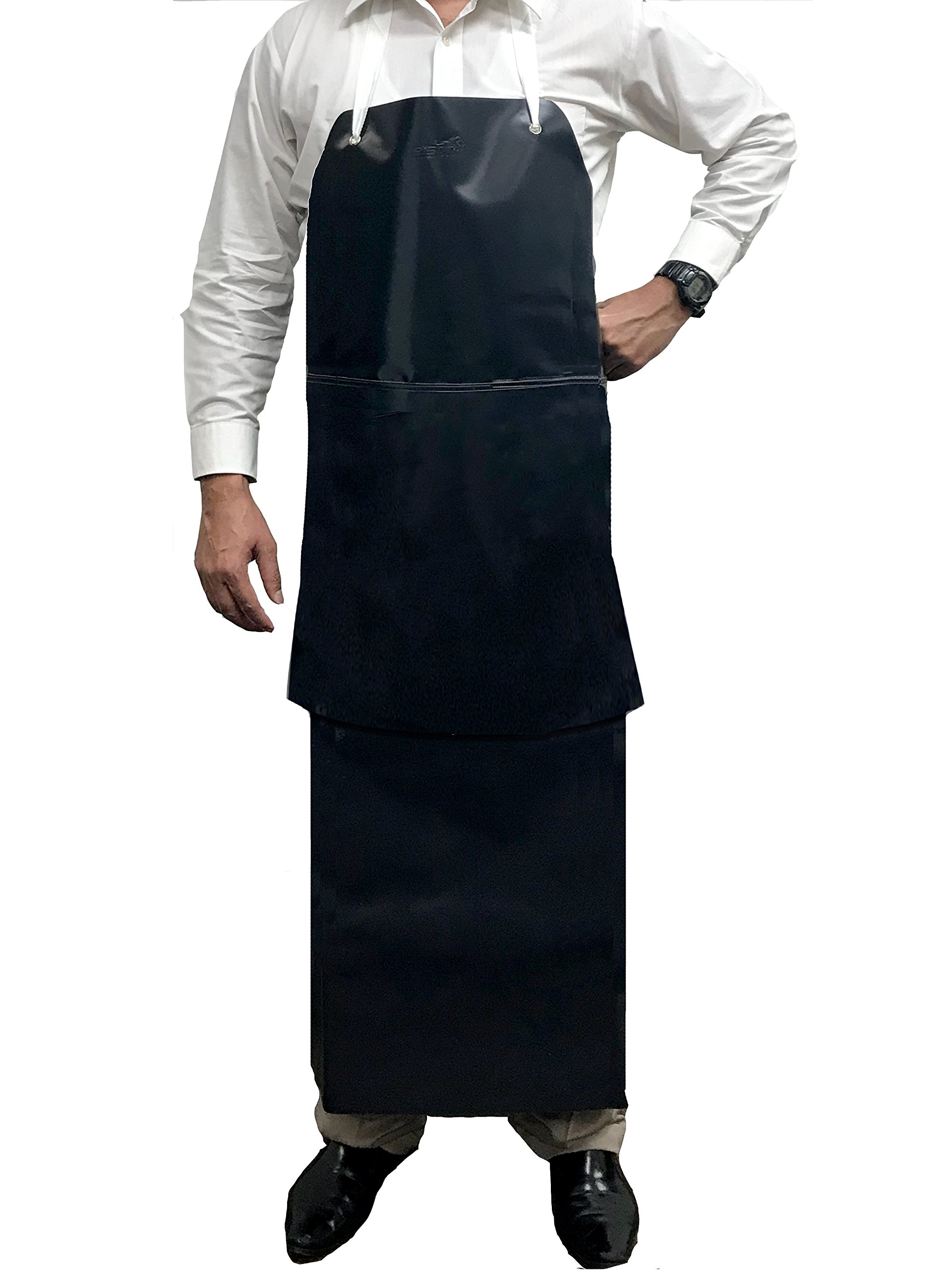 KLEEN CHEF Premium Heavy Duty PVC Leather Apron, Chemical and Water Resistant Double Layer Apron