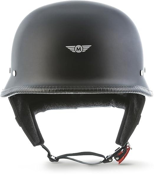 Amazon.es: Casco de moto Moto D33 negro mate, tipo jet, para chopper, scooter, estilo retro, hebilla SecureTM, con bolsa, talla L (59-60 cm)