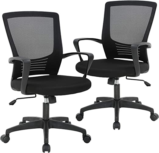 2 PC Adjustable Executive Office Computer Desk Chair Chrome Mesh Seat Ventilate