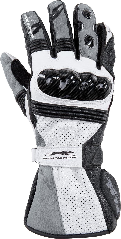 Flm Motorradhandschuhe Lang Motorrad Handschuh Gp4 Sporthandschuh Grau 7 5 Unisex Sportler Ganzjährig Leder Bekleidung