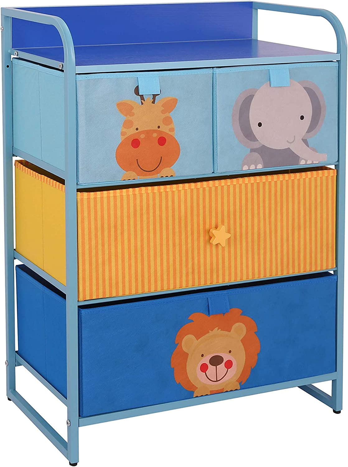 MY LUNA HOME Kids Dresser with 4 Drawers – Nursery Storage & Organizer Furniture for Children, Toddler, Baby– Heavy Duty, Soft & Easy Pull Fabric Bins for Toys, Clothes, Playroom & Bedroom - Blue