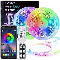 15M LED Strip, HOVVIDA Bluetooth Muziek LED-strip voor Kamer, Aangestuurd door APP, IR-afstandsbediening en Controller…