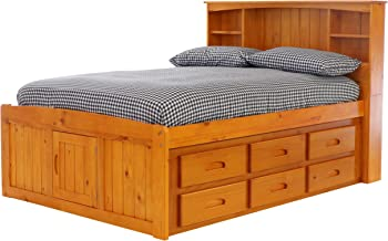7.Discovery World Furniture with 12 Drawers and Bookcase Captains Bed