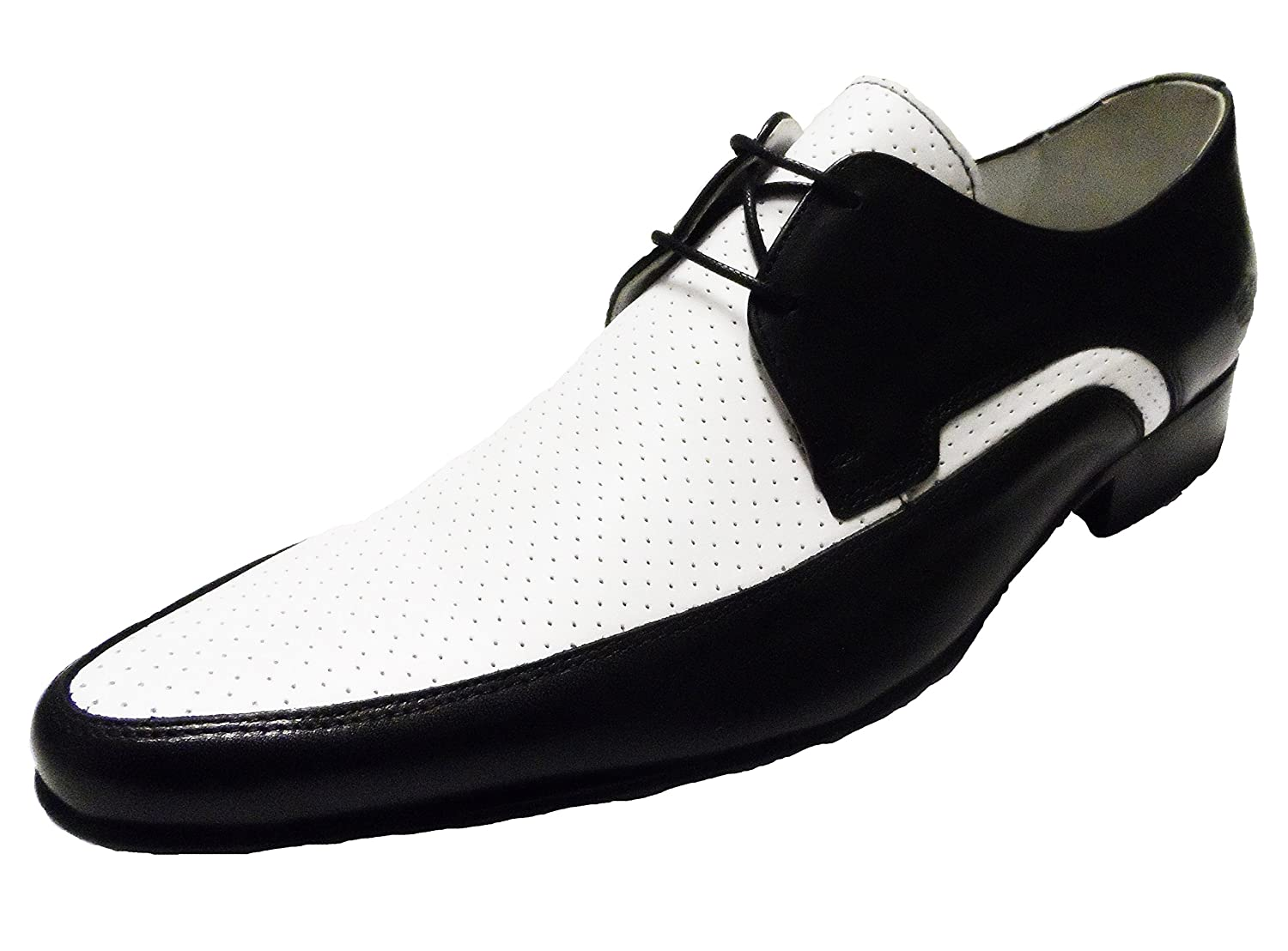 60s 70s Men's Clothing UK | Shirts, Trousers, Shoes Ikon Men`s Black/White Jam Shoes £69.99 AT vintagedancer.com