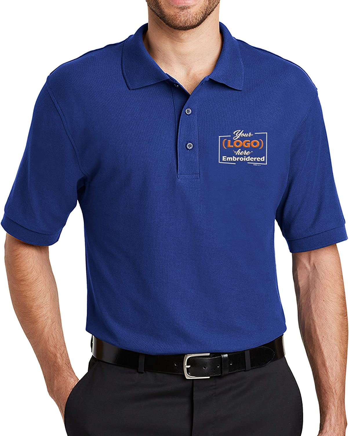 Custom Embroidered Logo Polo Shirts for Men Personalized Embroidery Company Logo
