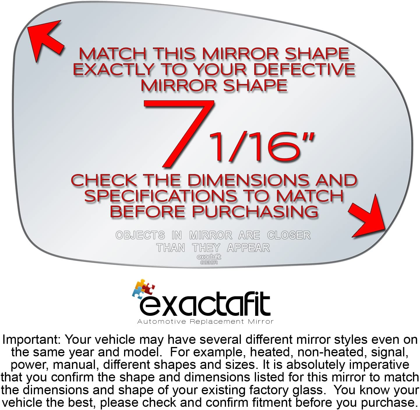 Passenger Side Rear View Mirror Glass Replacement Right Hand Side Convex Fits 1999 2000 2001 2002 Honda Accord by exactafit 8813R Adhesive Install RH