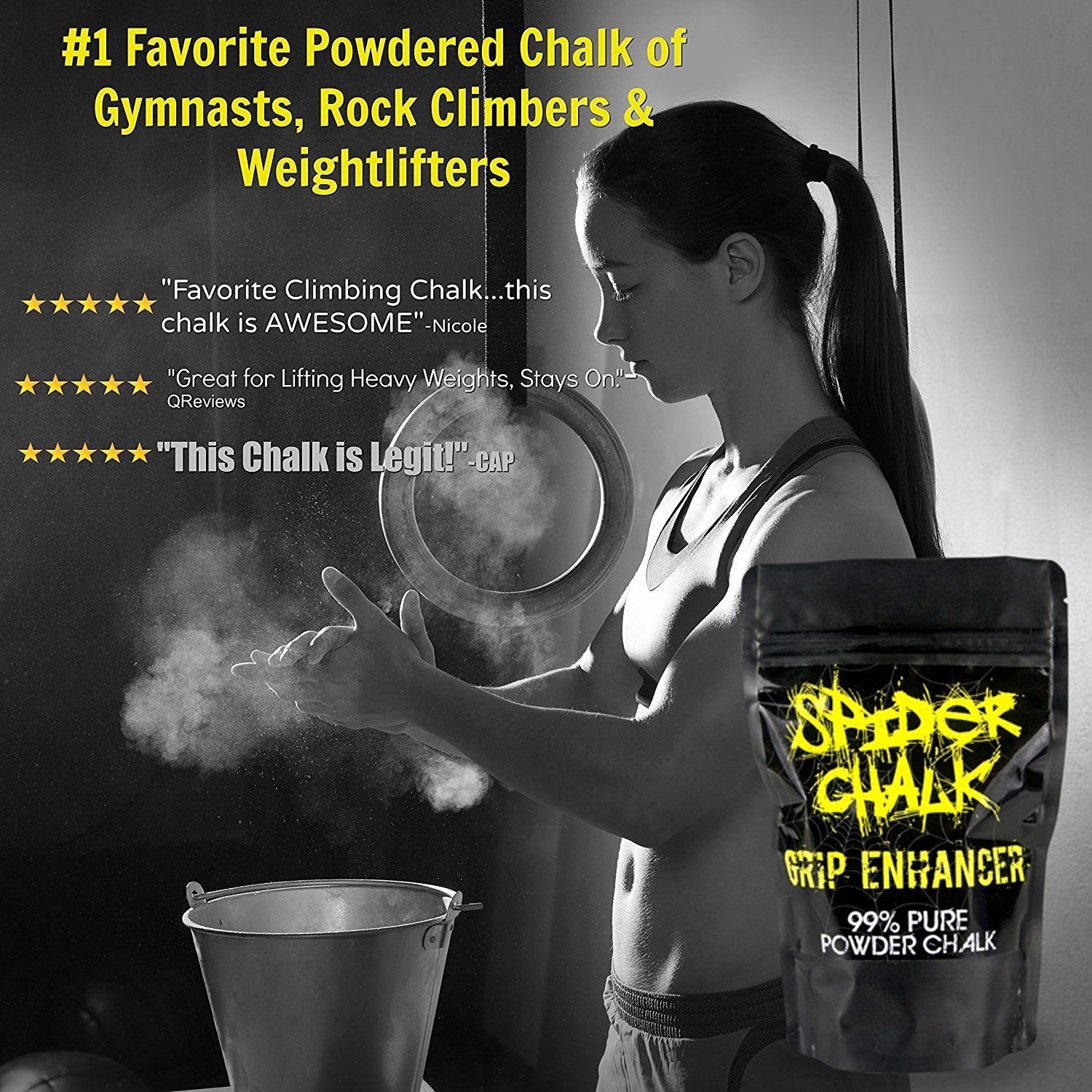 Premium Loose Workout Sport Chalk for Rock Climbing Weight Lifting Chalk Powder Sports Cross Fitness Training 99/% Pure Powdered Magnesium Carbonate Made in the USA and Gymnastics Spider Chalk Grip Enhancer