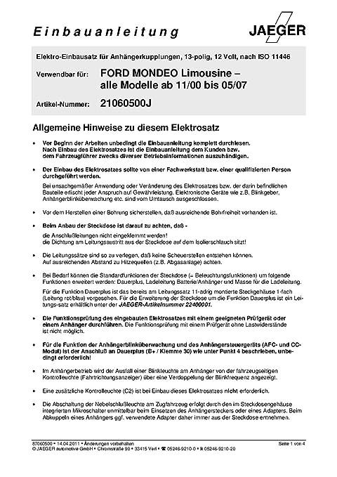 Jaeger 21060500 Electric Kit, Towbar: Amazon.co.uk: Car & Motorbike