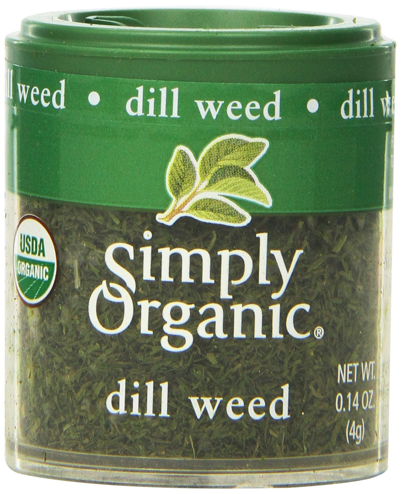 Simply Organic Dill Weed Cut & Sifted Certified Organic, 0.14-Ounce Containers (Pack of 6)