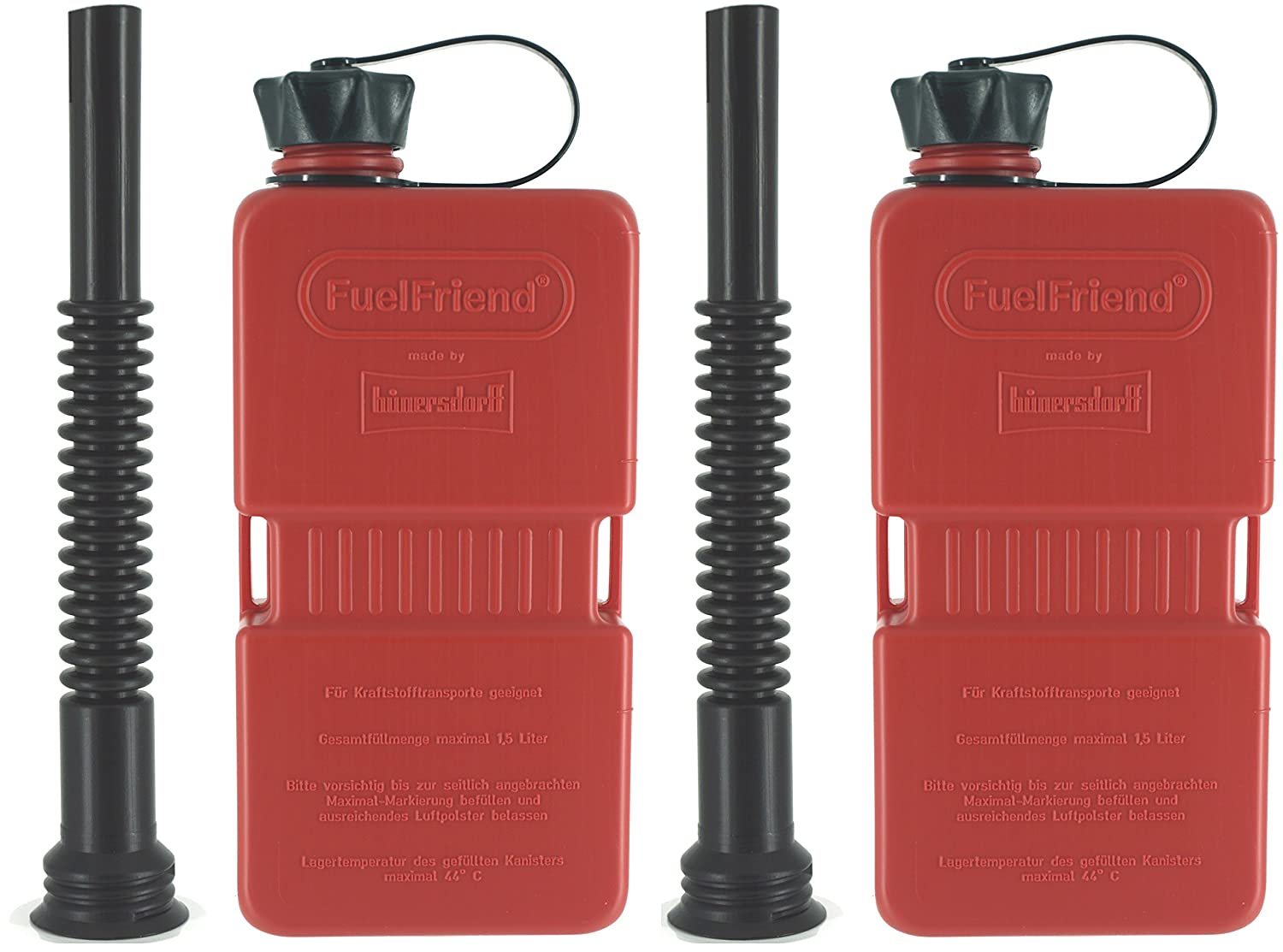 FuelFriend® -PLUS - Jerrycan 1.5 liters + spout flexible - 2 pieces for a special price hünersdorff 2FFP15FR