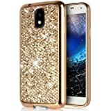 Etsue Glitter Silicone Case for Samsung Galaxy J3 2017[European Edition], Luxury Glitter Shiny Bling Sparkle Electroplate Plating Bumper TPU Case Ultra Thin Soft Rubber Silicone Gel Protective Case Cover for Samsung Galaxy J3 2017 + Blue Stylus Pen + Bling Glitter Diamond Dust Plug Colors Random-Bling Golden