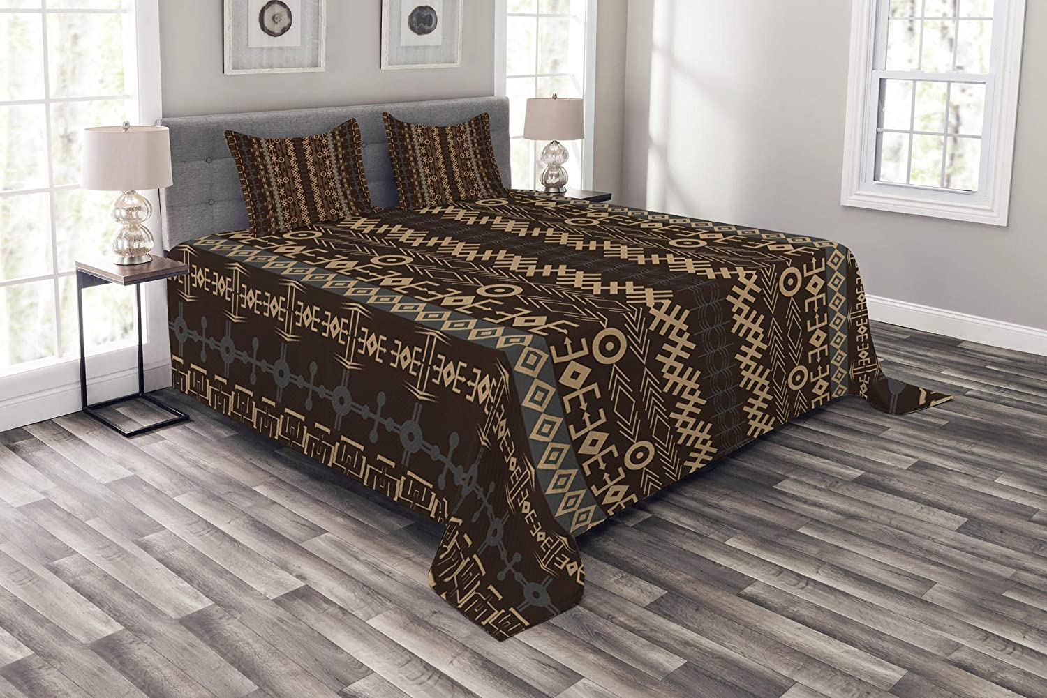 Ambesonne African Bedspread, Traditional Pattern Geometric Shapes Arrows Striped Tribal, Decorative Quilted 3 Piece Coverlet Set with 2 Pillow Shams, Queen Size, Yellow Bluegrey