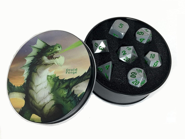 メタルダイスPolyhedralのセット7 Druid円グリーンD & D RPG BrushedシルバーwithグリーンNumbers   B077DKTZ4S