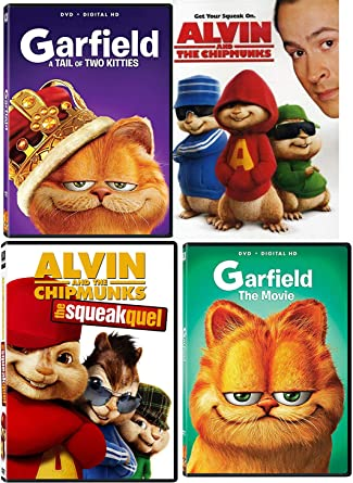 Amazon Com Royal Cat Live Action Garfield The Movie Tail Of Two Kitties Feature Alvin The Chipmunks The Squekquel Family 4 Movie Kids Fun Pack Bill Murray Jason Lee