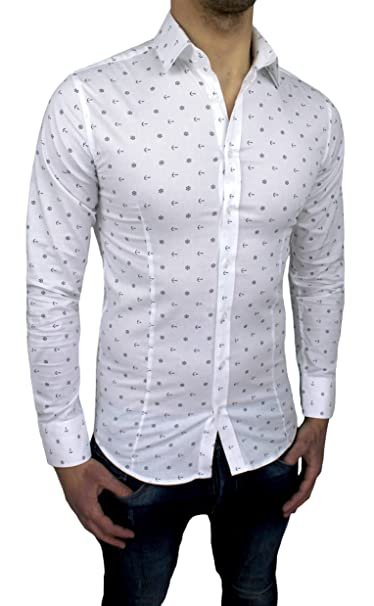 finest selection adfa8 004f1 Camicia Uomo Casual Fantasia Ancore Slim Fit Bianco Aderente ...
