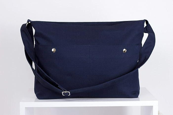 0bd9b7f5e146 Amazon.com: Navy Blue Messenger Bag Unisex College Bag Crossbody ...