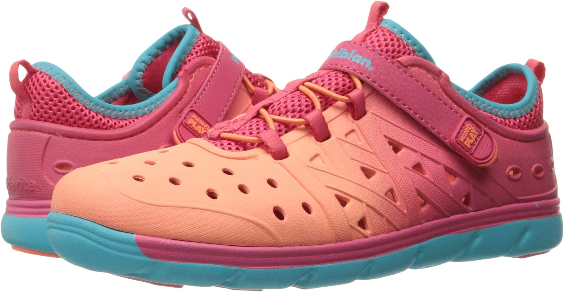 Stride Rite Girls' Made 2 Play Phibian,Coral/Turquoise EVA,US 11 M